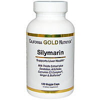 Silymarin Milk Thistle Extract, California Gold Nutrition, 30-120 Veggie Caps, фото 1