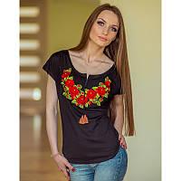 Женская вышитая футболка «Польська троянда»