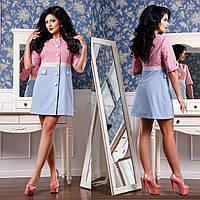 Женский комбинированный Плащ  F 77936 - Розовый-голубой