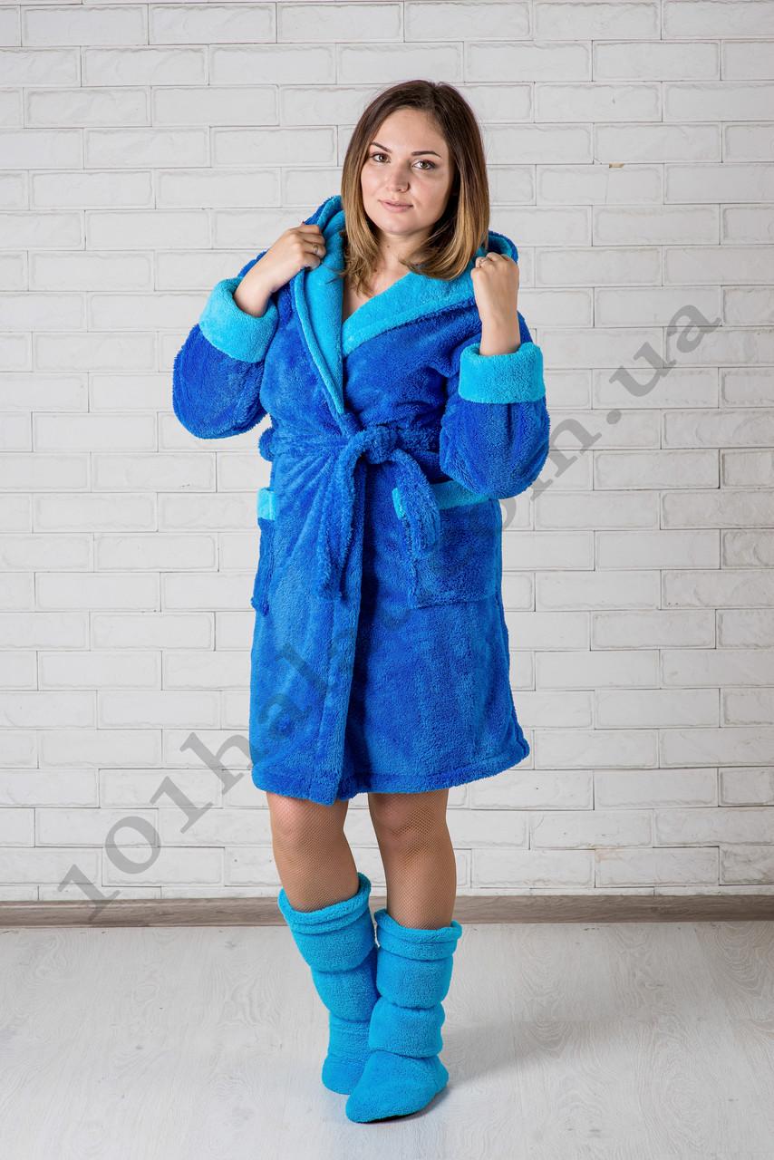 Женский халат махровый короткий