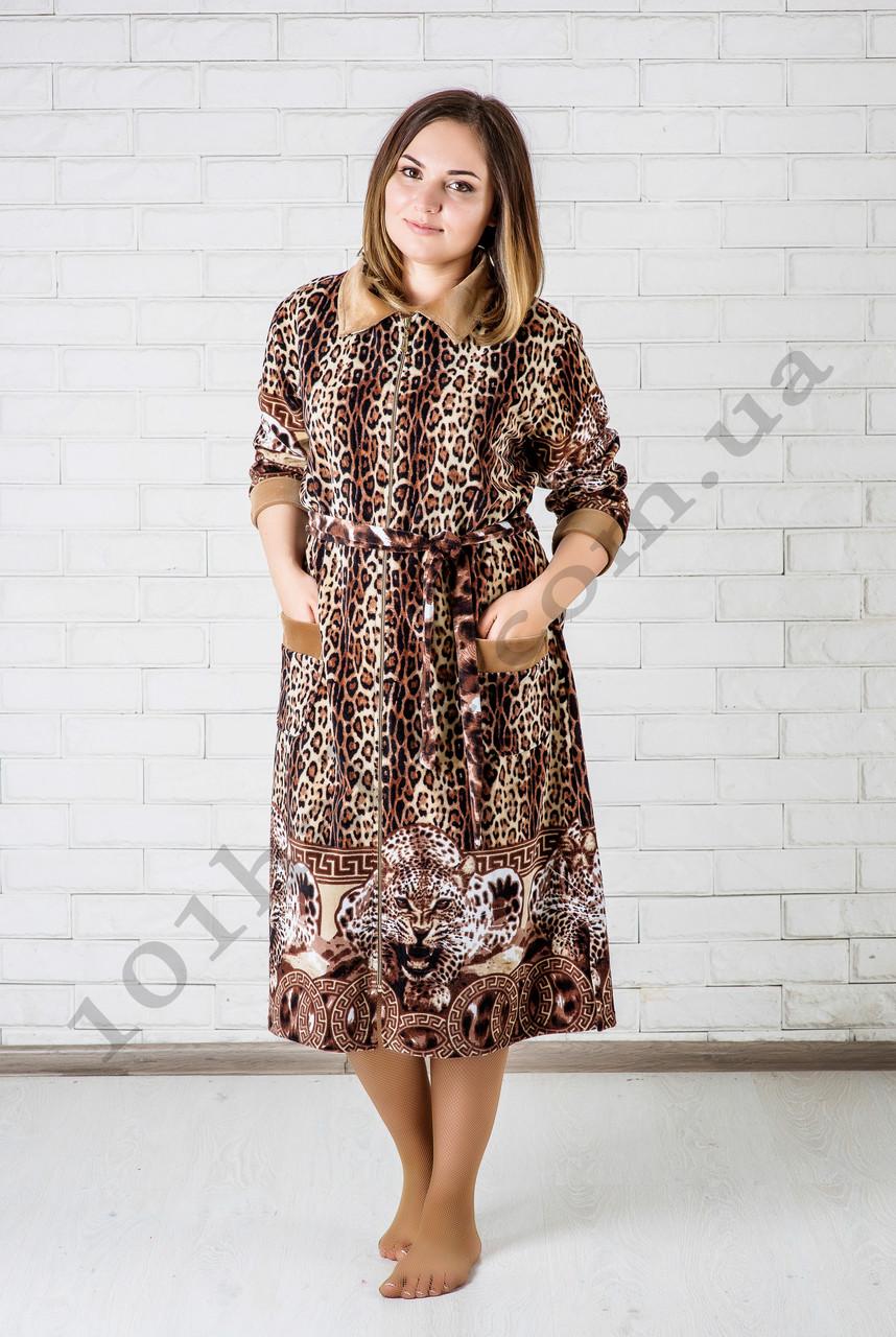 Женский велюровый халат леопардовый