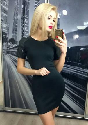 Платье приталенное с коротким рукавом из кожи ft-227 черное, фото 2