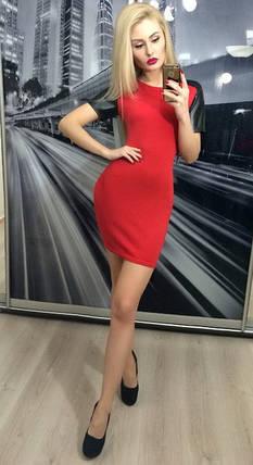 Короткое платье рукав из эко-кожи ft-227 красное, фото 2