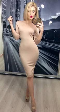 Платье обтягивающее с открытой спиной ft-207 бежевое, фото 2
