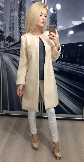 Пальто женское демисезонное кашемировое ft-235 бежевое