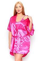 """Ночная рубашка и халатик в комплекте - шелк """"ПЛЮС сайз"""". Цвет малиновый. Красивый комплект для милых дам."""