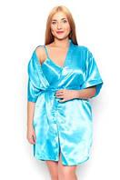 """Ночная рубашка и халатик в комплекте - шелк """"ПЛЮС сайз"""". Цвет голубой. Красивый комплект для милых дам."""