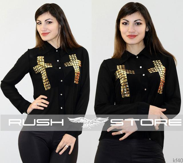 Шифоновая блузка с крестами