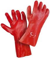 Перчатки полностью покрытые красным ПВХ, длина 35 см