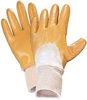 Перчатки покрытые желтым однослойным нитрилом