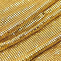 Нашивное алюминевое полотно. Металл-золото. Отрезок 1*45см