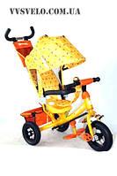 Велосипед детский трехколесный с ручкой Azimut Trike BC-17B пенорезина колеса золотой