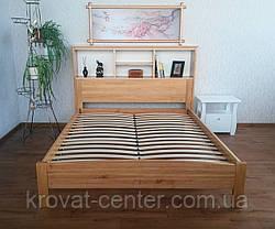 """Кровать с полками в изголовье """"Комби"""". Массив - сосна, ольха, береза, дуб., фото 3"""