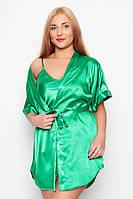 """Ночная рубашка и халатик в комплекте - шелк """"ПЛЮС сайз"""". Цвет зеленый. Красивый комплект для милых дам."""