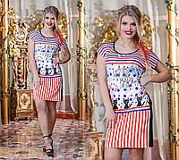 Женское платье-туника из комбинированной ткани.