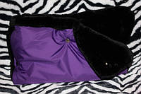 Муфта для рук на  коляску на мутоне фиолетовая, фото 1