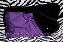 Муфта для рук на коляску на мутоне фіолетова