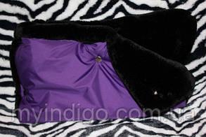 Муфта для рук на  коляску на мутоне фиолетовая