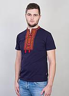 """Мужская  вышиванка """"Орнамент №2"""" синий-оранжевый"""