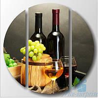 Модульная картина Триптих Белое и красное вино круглой формы, фото 1