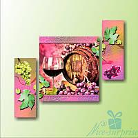 Модульная картина Вино и виноград из 3 фрагментов, фото 1