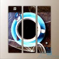 Модульная картина для кухни Голубая чашка из 3 фрагментов
