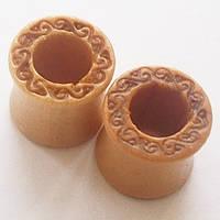 Тоннели 10 мм диаметр для пирсинга ушей. Материал: омело дерево. (цена за 1шт), фото 1