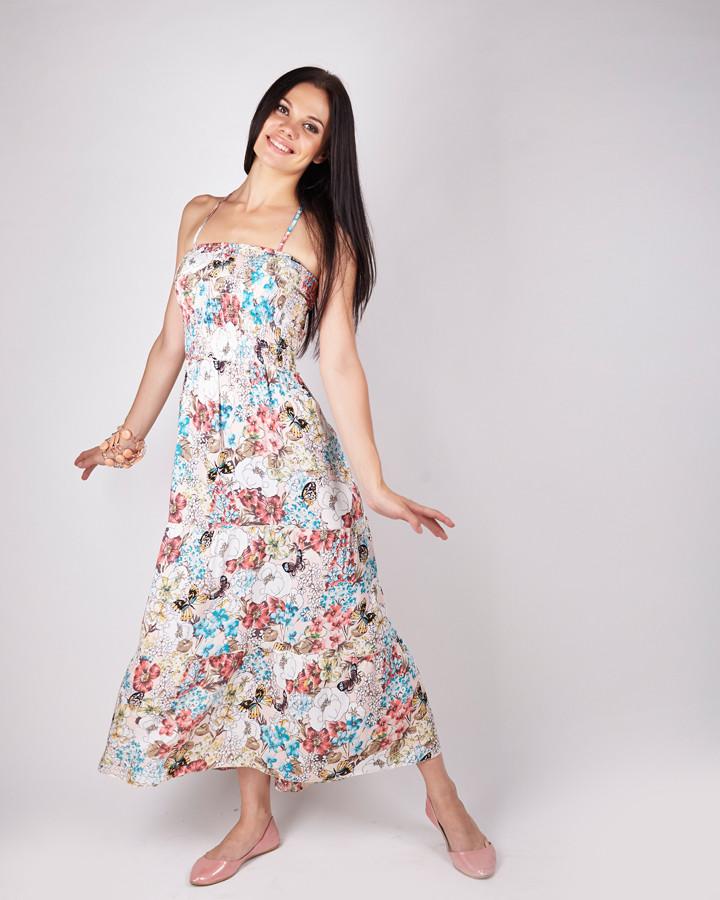 e4f13394528e26a Модный сарафан на бретельках с цветочным принтом, котон - Интернет магазин