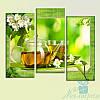Модульная картина Зелёный чай из 3 фрагментов