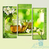 Модульная картина Зелёный чай из 3 фрагментов, фото 1