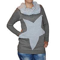 Платье теплое со съемным воротничком серое