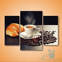 Модульная картина Кофе и круассан из 3 фрагментов