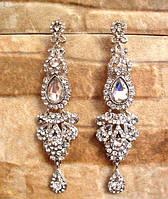 Красивые серьги с кристаллами под свадебный наряд