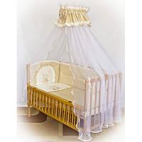 """Детское постельное белье в кроватку """"Вышивка клетка Мишка"""" цвет беж"""