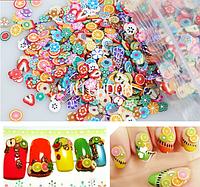 Фимо для ногтей, NailArt для ногтей, fimo на ногти, Украшения для ногтей (1000шт) ЦВЕТЫ