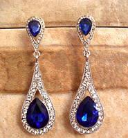 Классические Вечерние серьги с синими кристаллами