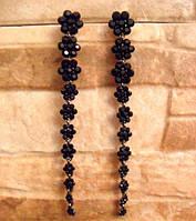 Длинные серьги с кристаллами для выпускного 12 см