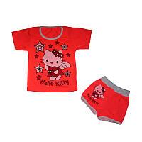 """Костюм для девочки """"Hello Kitty"""", футболка и шорты, стрейч-хлопок, р.р. 52-68."""