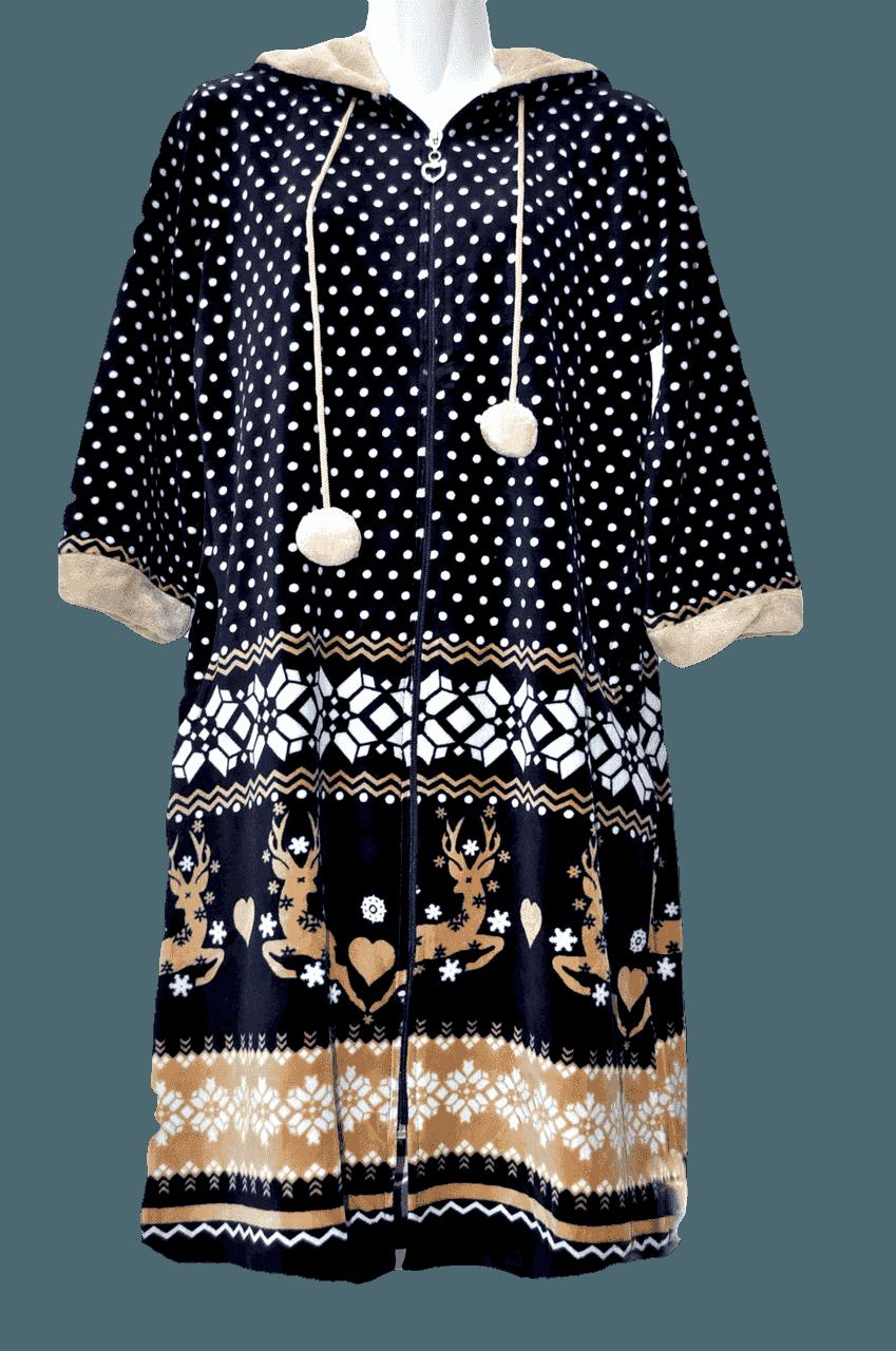 Велюровый халат с мехом