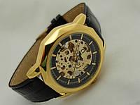 Часы механические мужские Skeleton, золотой с черным циферблат, фото 1