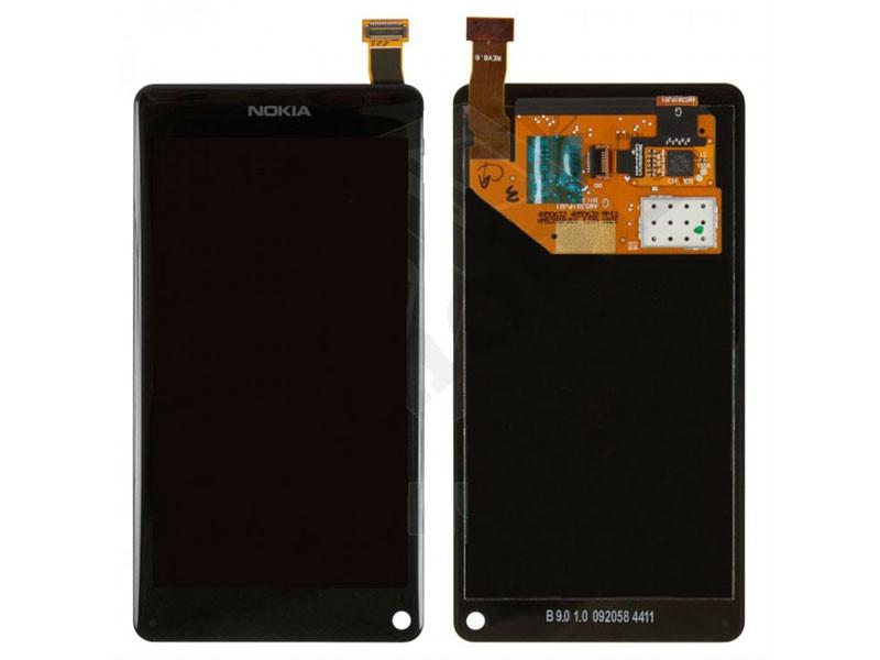 Дисплей для Nokia N9-00 + touchscreen. черный. с передней панелью. оригинал (Китай)