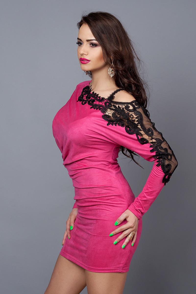 Платье  модель №142-4, размеры 42-48 малина, красное