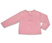 Ажурный жакет для девочки, цвет розовый, рост 68-74 см