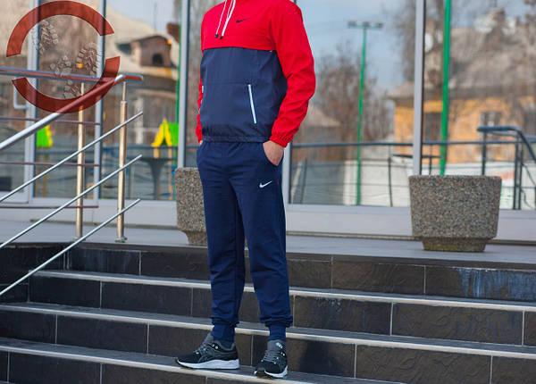 Анорак, красно-синий, штормовка, спортивная, фото 2