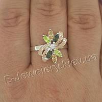 """Серебряное кольцо с золотом """"221"""", фото 1"""