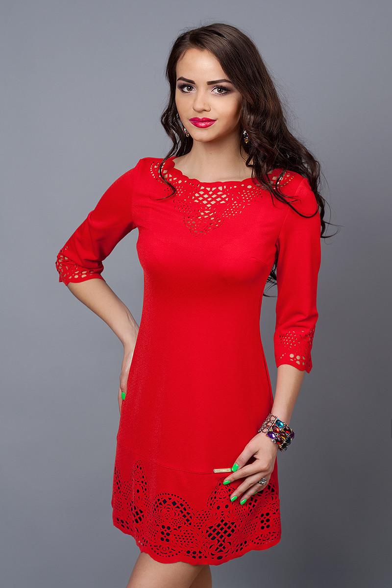 Платье женское модель №245-6, размер 46,48 красное с т.синим