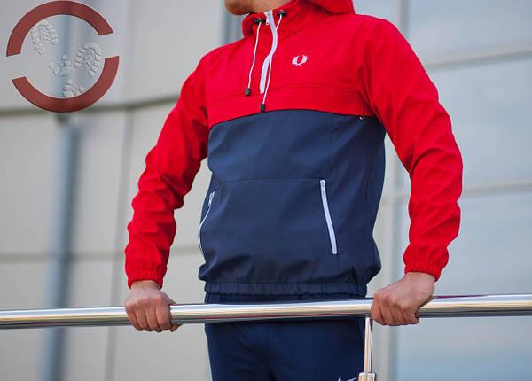 Анорак, красно-синий, штормовка, спортивный, фото 2
