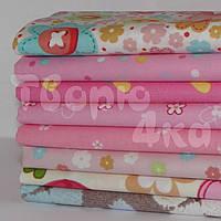 Ткань для пэчворка набор 8 шт Цветочный (розовый)