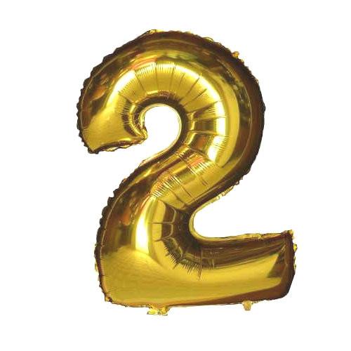 Шар фольгированный золотой, цифра 2 (80 см)