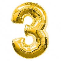 Шар фольгированный Josef Otten цифра 3 золото 60 см